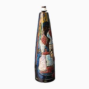 Lámpara de mesa o de pie grande de cerámica de colores hecha a mano de Melior, años 60