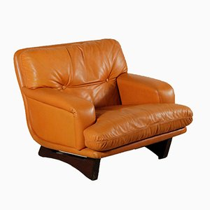 Italian Armchair with Leather, Foam Padding & Wood from Lenzi, 1960s