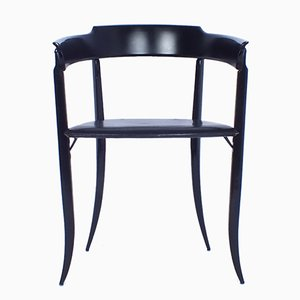 Beistellstuhl aus schwarz lackiertem Holz & Leder, 1980er