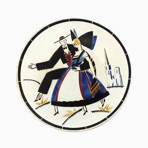 Französischer Art Deco Keramik Teller von K. G. Lunéville, 1930er