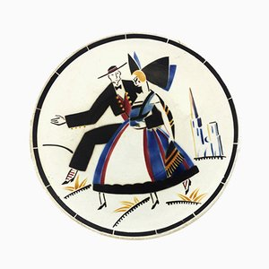French Art Deco Ceramic Dish from K. G. Lunéville, 1930s