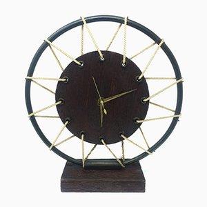 Horloge de table Mid-Century en Bois, France