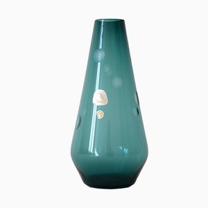 Mid-Century Petrol-Colored Smoked Glass Vase from Kristallglasfabrik Alfred Taube