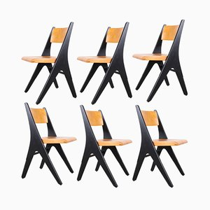 Model Penguin Chairs with Black Feet by Carl Sasse for Casala, 1970s, Set of 6