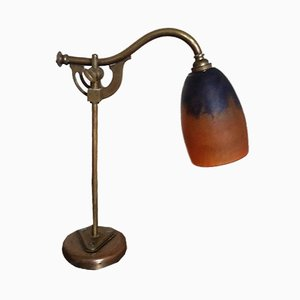 Antique Art Nouveau Glass & Bronze Desk Lamp from Daum Nancy