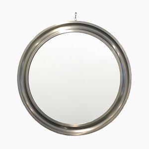 Espejo redondo con marco de aluminio moldeado de Sergio Mazza para Artemide, años 60