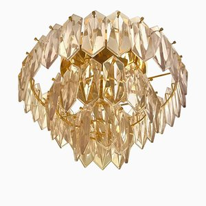 3-Level Glass Chandelier with Gilded Frame from Kinkeldey, 1960s
