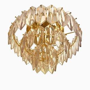 Lámpara de araña de vidrio con tres niveles y estructura dorada de Kinkeldey, años 60
