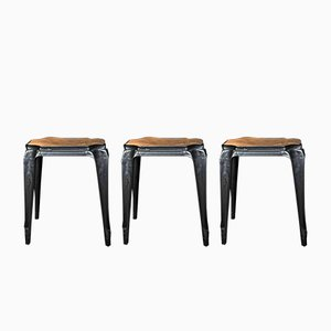 Sgabelli vintage di Joseph Mathieu per Multipl's con sedute di Luterma, Francia, set di 3
