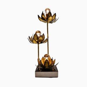 Lámpara de mesa Lotus francesa de latón, años 70
