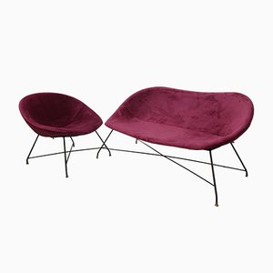 Vintage Sofa & Lounge Chair by Augusto Bozzi for Saporiti Italia