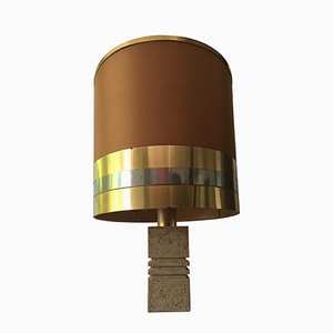 Lampe de Bureau avec Pied en Travertine, Italie, 1970s