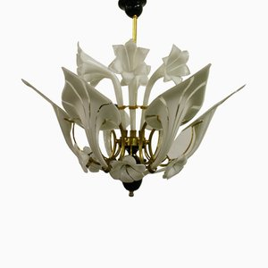 Murano Glass Canna Lily Chandelier by Franco Luce, 1960s