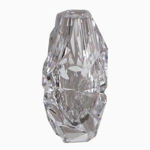 Jarrón transparente de vidrio tallado de Vicke Lindstrand para Kosta