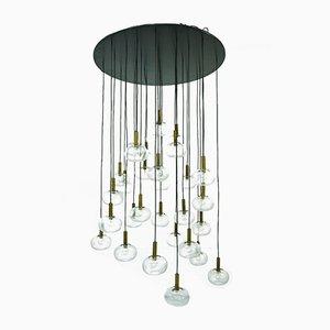 Lámpara de araña italiana Mid-Century grande de latón y cristal burbuja de Indoor, años 60