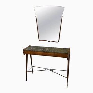 Mid-Century Modern Italian Console Table with Mirror, 1950s