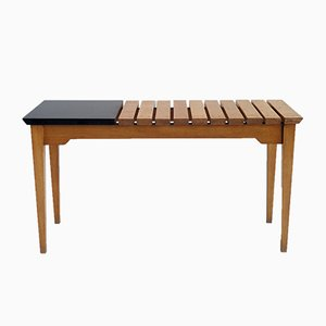 French Modernist Slatted Bench, 1950s