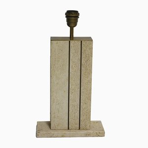 Belgian Travertine & Brass Table Lamp, 1970s