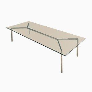 Tavolino da caffè minimalista in vetro e metallo cromato, anni '60