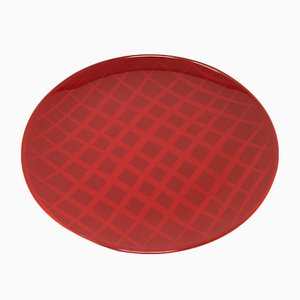 Network Red Plate in Lacquered Urushi Glass by Eliana Lorena for Hands On Design
