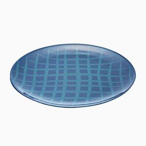 Network Blue Teller aus lackiertem Urushi Glas von Eliana Lorena für Hands On Design
