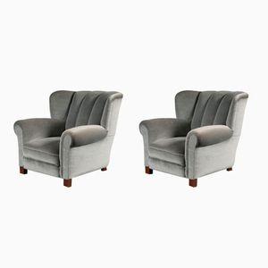 Vintage Danish Low-Back Armchairs, Set of 2
