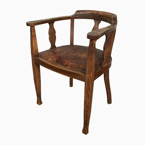 Vintage Art Deco Solid Oak Armchair