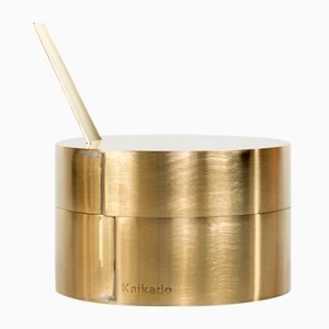 Flat Zuk Sugar Jar in Brass and Borosilicate Glass by Shiina + Nardi Design for Hands On Design