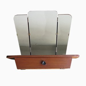 Klappbarer Spiegel mit Regal und kleinem Staufach, 1950er