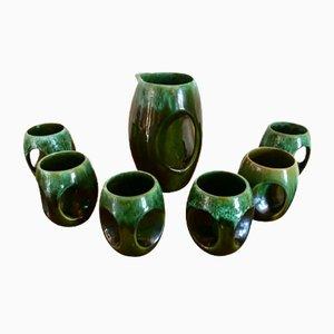 Set di bicchieri con bottiglia vintage in ceramica smaltata, anni '70
