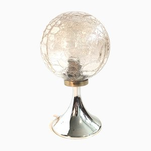 Small Mid-Century Table Lamp with Crackle Glass Shade, 1960s