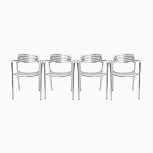 Sedie impilabili in alluminio di Jorge Pensi per Amat 3, anni '80, set di 4