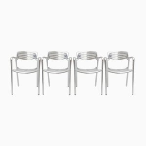 Sillas apilables de aluminio de Jorge Pensi para Amat 3, años 80. Juego de 4