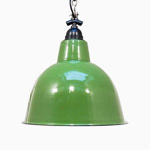 Lámpara colgante Mid-Century esmaltada en verde, años 50