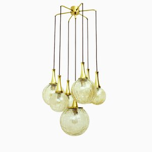 Golden 7-Armed Glass Chandelier from Doria Leuchten, 1970s