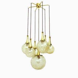 Lámpara de araña dorada de vidrio con siete brazos de Doria Leuchten, años 70