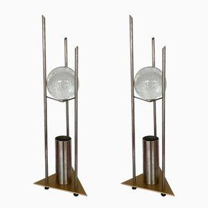 Lámparas de mesa alemanas con globo de vidrio de RW Manufaktur, años 80. Juego de 2