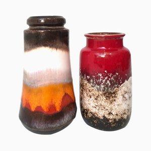 Mid-Century Keramik Vasen von Scheurich, 2er Set