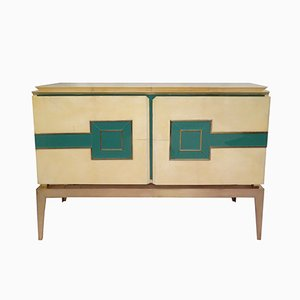 Italienisches verglastes Pergament & Messing Sideboard, 1950er