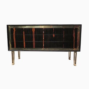 Vintage Art Deco Macassar & Brass Commode, 1940s