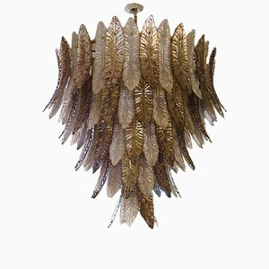 Lámpara de araña italiana de cristal de Murano en blanco y gris paloma, año s80