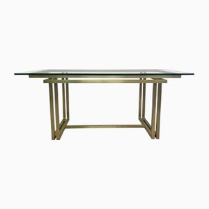 Vintage Italian Rectangular Brass & Glass Table, 1970s