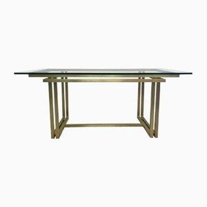 Vintage Italian Rectangular Brass & Glass Table, 1970s
