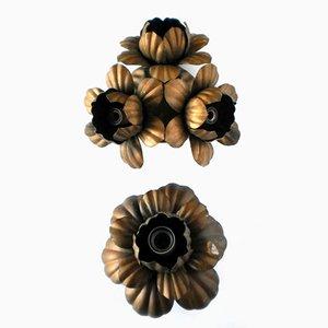Florale italienische Vintage Wandleuchten aus Metall, 2er Set