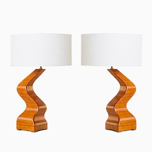 French Sculptural Table Lamps in Lamellar Wood, 1970s, Set of 2