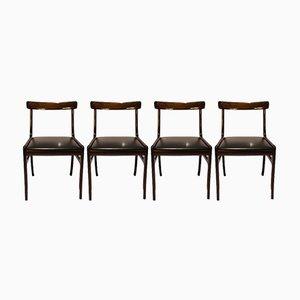 Mahagoni Rungstedlund Esszimmerstühle von Ole Wanscher für Poul Jeppesens, 1960er, 4er Set