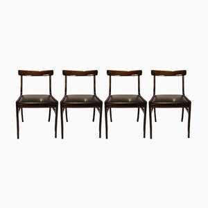 Mahogany Rungstedlund Dining Chairs by Ole Wanscher for Poul Jeppesens, 1960s, Set of 4
