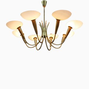 Mid-Century Golden 8-Arm Glass & Brass Chandelier, 1950s