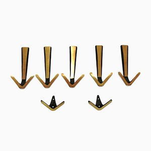 Mid-Century Brass Hooks, Set of 7