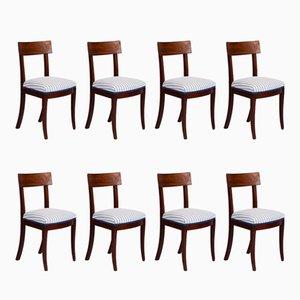 Antike skandinavische Mahagoni Esszimmerstühle, 8er Set